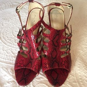 Anne Michelle Red Snake Print High Heels